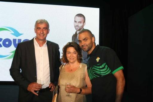 Soirée Astroballe - De gauche à droite : Jean-Philippe Delmotte, DG, Natalie Bassouls, Directrice Marketing groupe, Tony Parker