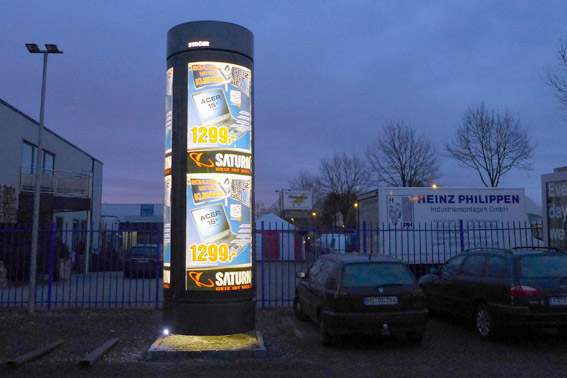 Backlit advertising display columns