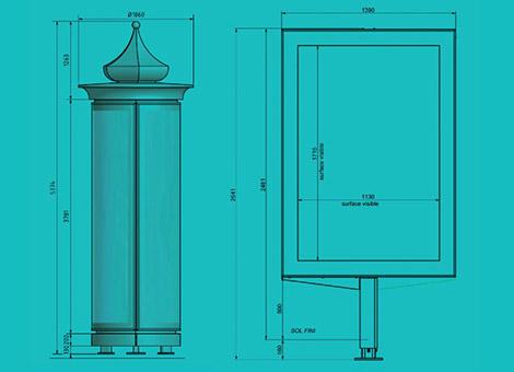 Design Colonne Morris et planimetre