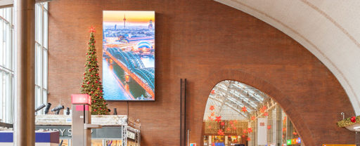 Big screen in a railway station